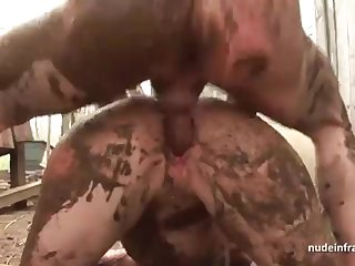 Bony undevious brown-haired rectal banged n spunked open-air in a filthy french farm