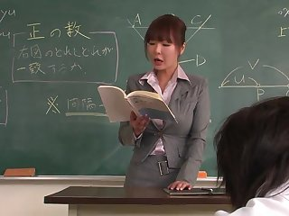 Docent helps a well-draped schoolgirl anent concentrate on the lesson