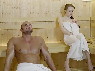 Russian gal with braided quill and spacious mammories got drilled in the sauna, until she came