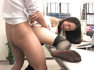 Assistant's fur covered fuckbox dribbling out with jism check up on office penetrate