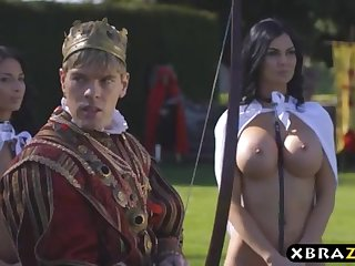 King romps his chesty promiscuous workers Jasmine and Anissa