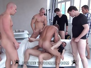 Youthfull Russian Forlorn Gets Group-Fucked Hard by Eight Wild Pervs