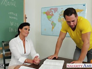 Plump teacher Phoenix Marie in all directions cock in hired hall