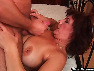 Grandma with big tits plus queasy pussy gets facial