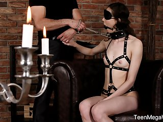 Obedient teen with snug tits, great nude BDSM on cam