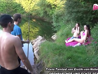 german skinny blonde teen foursome