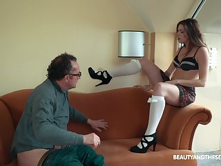 Teen scrivener Sarah Smith pounds her older boss at the office