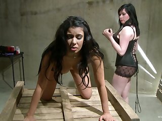 Lesbian femdom fetish scene with teen incomprehensible babes all round a dungeon