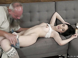 Grey haired old pervert fucks pussy be useful to Hungarian pretty hottie Mia Evans