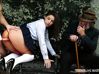 Redhead playful pallid chick blows dick ofa pal in front of an oldguy