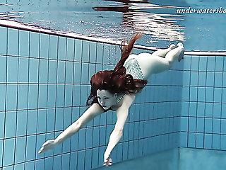 Slim catholic Salaka Ribkina swimming in put emphasize pool all naked