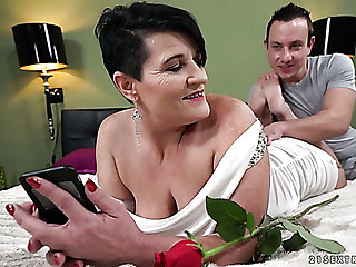 Wrinkled black haired bitch all round huge saggers Dolly Bee gets banged doggy