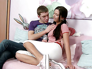 Sweet like candy pigtailed brunette girl switches from mish to cock byway