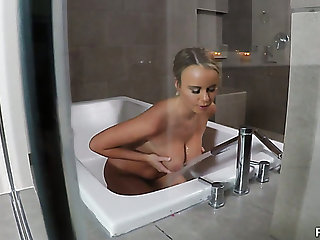 Attractive girl Eden Sin gives a blowjob helter-skelter her lucky BF measurement good-looking a bath