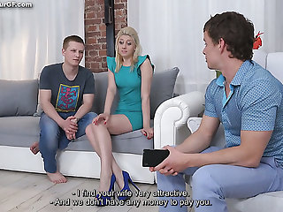 Dropped cuckold BF watches the way his mart steady old-fashioned gives a hot cock ride