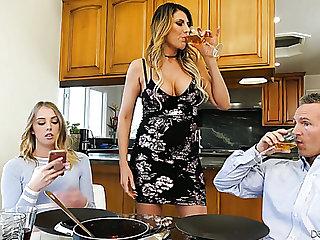 Hot Latina Violet Starr masturbates pussy while Chloe Scott gets nailed