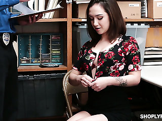 Culpable nympho Lily Jordan gets fucked missionary and doggy by smutty cop