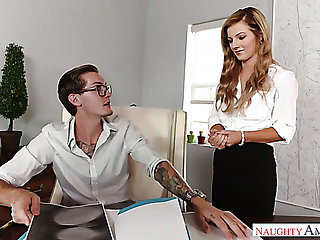 Kinky office assistant Bella Rose talks her boss into having sex with her