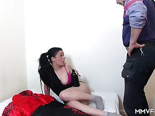 Regular slut with flushing cheeks gets fucked brutally from side with